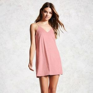 Forever 21 Faux Suede Blush Pink Cami Dress